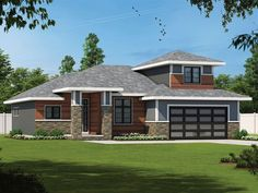 031H-0471: Contemporary House Plan with Bonus Room Contemporary Style Homes, Contemporary House Plans, Contemporary Bathrooms, Modern House Design, Contemporary Design, Flex Room, Design Basics, Basement Plans, Best House Plans
