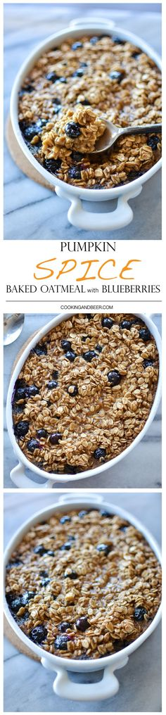 Pumpkin Spice Baked Oatmeal with Blueberries