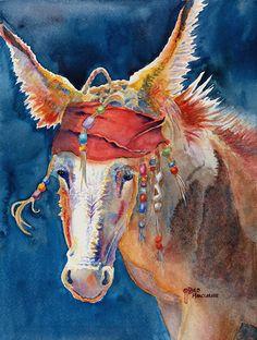 Donkey ART print of Original Watercolor Painting,Jack Burro,Animal Art,Woman,Man,Children decor,Pirate,by Deb Harclerode Fine Art,etsy. $14.95, via Etsy.