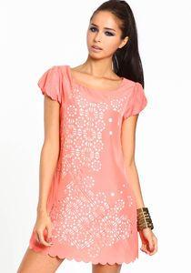 Laser Cut Bubble Dress, CORAL, large