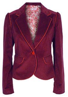 Wine colored velvet jacket.