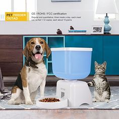 LCD Dispaly 5 Liters Capacity Pet Automatic Feeder with Voice Recorder and Timer Programmable for Medium and Small Animals Dogs and Cats Bucket Feeder - Cool Kitchen Gifts