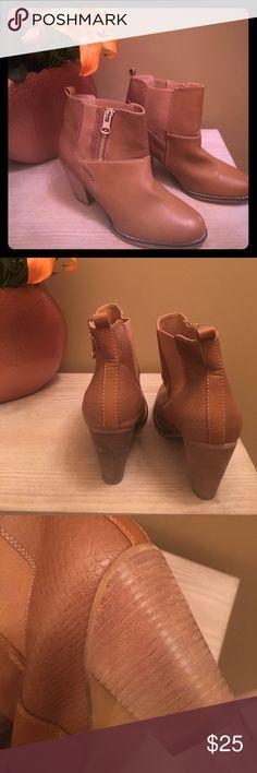 Aldo light brown booties Aldo light brown zip booties Worn once Heels have weathered look Aldo Shoes Ankle Boots & Booties