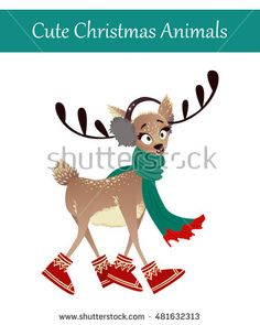 Cute Merry Christmas Animal Illustration. Festive Cold Holidays Theme. Colorful…