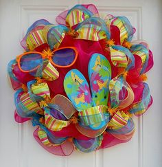 Pink Mesh Summer Fun Wreath by dottiedot05 on Etsy, $65.00