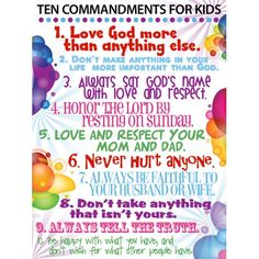 10 commandments for kids.....and adults.