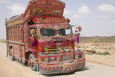 A popular pakistani art form will be featured in the Durga puja pandal in Calcutta. It's called truck art. Pak artists will come to the city in. Truck Art Pakistan, Bus Art, Pakistani Culture, Truck Paint, Diy Rv, Bus Station, Weird Pictures, Heavy Equipment, My Ride