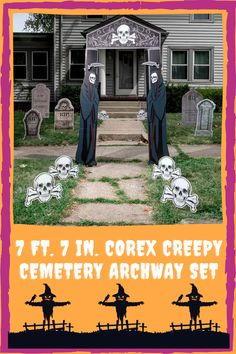 Turn your front yard into a scary cemetery. This set one arch and six skull sidewalk signs. The signs are made out of corex and require assembly. Stick this on your lawn and anyone who passes by will get the creeps! You can purchase this set from Shindigz. Sidewalk Signs, Spooky Halloween Decorations, Cemetery, Making Out, Lawn, Creepy, Arch, Skull, Longbow
