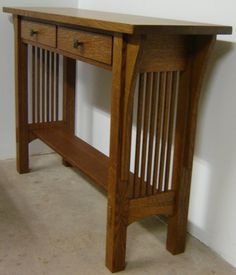 New Solid Quarter Sawn White Oak Mission Style Sofa Table / Hall Table. $895.00, via Etsy.
