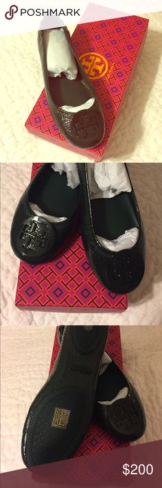 New! Tory Burch Minnie Travel Ballet -Jitney Green New! Never worn Tory Burch Minnie Travel Ballet with Logo/ Shrunken Sheep Patent. Color Jitney Green, Size 6.5. Amazingly comfortable! Designer Description: Crafted in lightweight, super-soft napa leather, it features a slip-resistant split rubber sole, layers of foam cushioning and stitch-and-turn construction — a special sewing technique that refines the seams. Finished with an elasticized back for a slipper-like fit and the iconic…