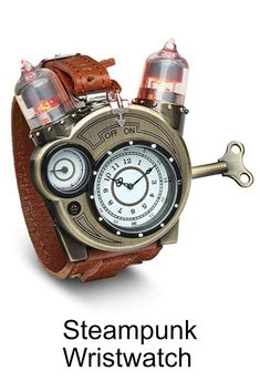 990dce225ba8 Steampunk-Styled Tesla Analog Watch Weathered-Brass Look on Metal Findings  Plus Leather Strap