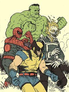 Hulk, Wolverine, Spider-Man & Ghost Rider by Ramon Villalobos