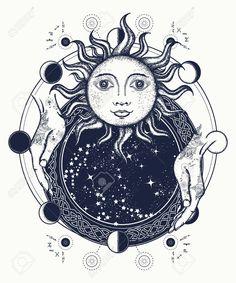 Symbol of magic, mystery, esoterics. Sun and lunar phases medieval t-shirt design Framed Tattoo, Tatoo Art, Lion Tattoo, Kunst Tattoos, Body Art Tattoos, Spiegel Tattoo, Werewolf Games, Mirror Tattoos, Witch Tattoo