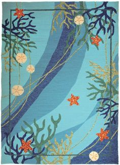 Shades of aqua, turquoise, royal blue and starfish orange make up this underwater scene with sand dollars and seastars. Easy care, unique indoor-outdoor coastal area rug.