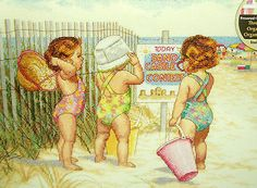 COUNTED CROSS STITCH Dimensions Kit BEACH BABIES Beach Kids Ocean 14 x 11 Summer