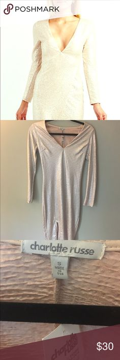 Shimmery Long Sleeve Dress NEVER WORN! Tags attached! Shimmery dress, not sequins. Super soft. Great for New Years and the holidays! Stretchy material and modest length. Charlotte Russe Dresses Long Sleeve