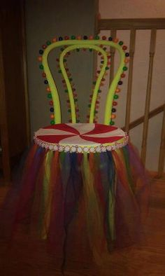 Chair I made for my daughters CandyLand Birthday Party (thrift store? Birthday Candy, 10th Birthday Parties, Circus Birthday, 1st Birthday Girls, Candy Theme Classroom, Candy Land Theme, Party Props, Party Ideas, Christmas Float Ideas