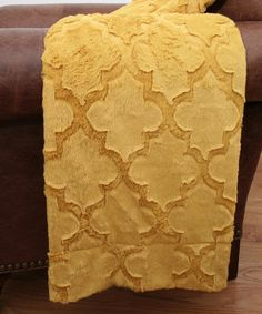 Look what I found on #zulily! Lemon Curry Quatrefoil Faux Fur Throw by THRO #zulilyfinds