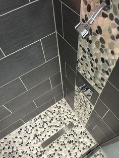 Decorations Tiles. Noble Pebble Shower Floor Assorted Installation Ideas: Deliberate Grey Subway Porcelain Wall Tiled Also White And Dark Pebble Shower Floor And Wall Accent As Modern Shower Room Ideas