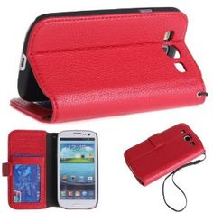 Amazon.com: Wisedeal Premium PU Leather Wallet Case and Card Holder With tire and Magnetic clip for SAMSUNG i9300 GALAXY S3 (Red): Cell Phones & Accessories