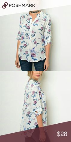 SALE! 3/4 sleeve floral top 3/4 sleeve white top with flowers. Chupchick  Tops Blouses