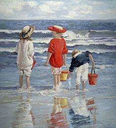Vintage Beach Pictures of Children