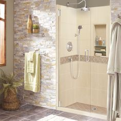 Shop American Bath Factory Flagstaff Molded Stone Shower Wall Surround Side and… Small Shower Remodel, Stone Shower, Primitive Bathrooms, Country Bathrooms, Shower Kits, Shower Ideas, Diy Shower, Shower Floor, Fiberglass Shower