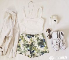 White crop top, tropical shorts, sneakers, cardigan