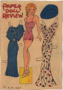 A Paper Doll Review of a Blondie paper doll. 9-9-34