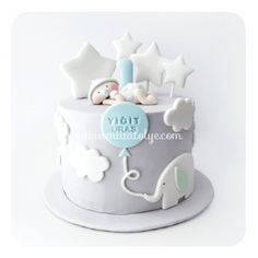 124 Baby Birthday Cakes, Baby Boy Cakes, Cakes For Boys, Baby Shower Cakes, Baby Boy Shower, Boy Birthday, 1 Tier Cake, Tiered Cakes, 1st Year Cake