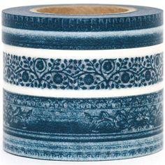 Washi Masking Tape deco tape set 3pcs floral patterns