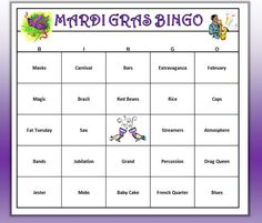 Mardi Gras Party Bingo Game Cards) Carnivale Bingo Words -Very Fun! Print and Play! Fun and easy to play. Carnival Booths, Diy Carnival, Carnival Games, Carnival Mask, Mardi Gras Food, Mardi Gras Beads, Mardi Gras Party, Mardi Gras Centerpieces, Mardi Gras Decorations