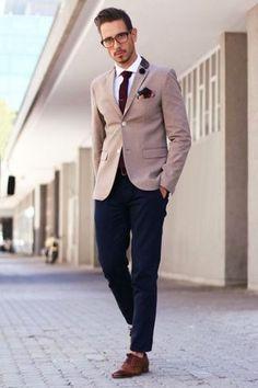 Men's White Dress Shirt, Navy Chinos, Dark Brown Leather Oxford Shoes, Dark Brown Leather Belt, Brown Blazer, Burgundy Print Pocket Square, and Burgundy Wool Tie