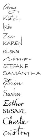 The first non-fonts on my board.  These are hand-drawn calligraphy examples.  Gorgeous.  I'm posting this to link to her page--maybe I can help her business.  :o)  People often ask if they can make a font out of my handwriting but I promise, it would never work.