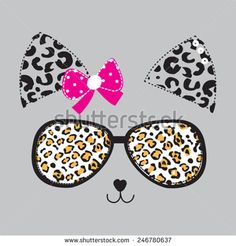 cat face with glasses vector illustration - stock vector