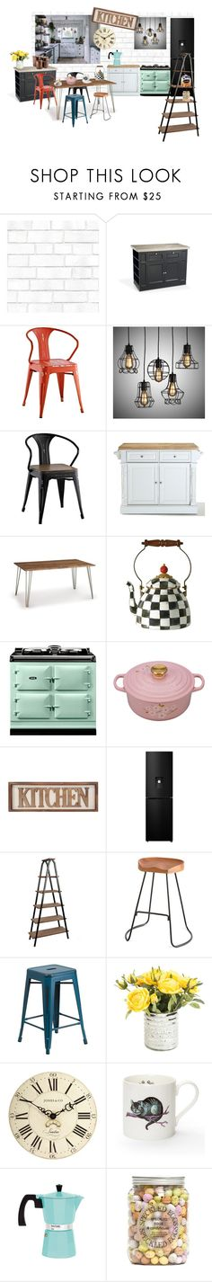 """my dreamed kitchen"" by lizenn-annah-binet ❤ liked on Polyvore featuring interior, interiors, interior design, home, home decor, interior decorating, Tempaper, Dolce Vita, Home Decorators Collection and Copeland Furniture"