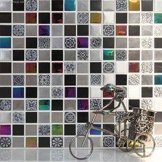 Pink Crystal Decorative Metal Tile Backsplash Galvanized Floor Wallpaper Mosaic Tiles [DGMM016] - $23.86 : DecorGenius.com