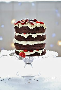 Easy Christmas Dessert Cake - store bought cake layered into a tower with fruit and cream, super easy, budget friendly & crowd pleaser :-)