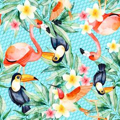 View Flamingo Tucan Tropical Floral Design by Estudio Bloom Prints. Available in Seamless Repeat Royalty-Free. Bird Patterns, Print Patterns, Repeating Patterns, Flamingo, Floral Design, Cool Designs, Royalty, Tropical Prints, Bloom