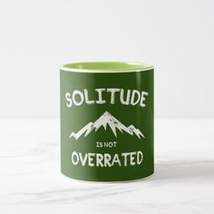 Solitude Is Not Overrated Two-Tone Coffee Mug   camping things, mentee gifts ideas, camping fan #airstream #camper #camperlife