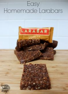 Easy homemade larabars for a fraction of the cost of store bought ones! Dairy free, gluten free, refined sugar free (note: sub dates) Homemade Larabars, Whole Food Recipes, Snack Recipes, Lara Bars, Snacks Saludables, Foods With Gluten, Dessert, Healthy Treats, Healthy Bars