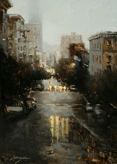 I love photos and paintings of rainy days when there is reflection of lights from windows or cars or street lights. This is awesome.