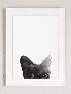 Black Cat Painting Custom Pet Portrait Black Kitty Watercolor Cat Art Print by ColorWatercolor on Etsy https://www.etsy.com/listing/228500170/black-cat-painting-custom-pet-portrait