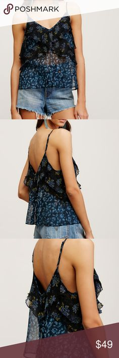 Free people All Things Tank floral print blk navy Brand new, size L. Navy and black print Free People Tops Tank Tops