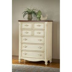 Chateau Antique White Five Drawer Chest