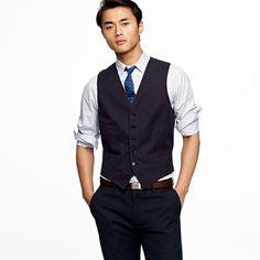 suit vest in Italian cotton pique, JCrew