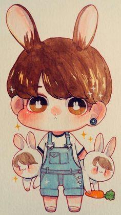 Chibi fanart of Kookie Kpop Fanart, Fanart Do Jungkook, Jungkook Cute, Bts Bangtan Boy, Bts Chibi, Anime Chibi, Leprechaun, Namjin, Vkook