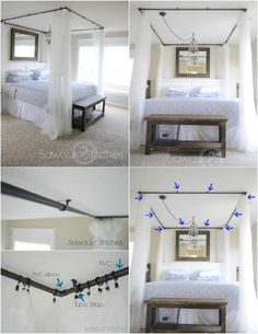 PVC Pipe Curtains; could cover top with a piece of fabric to be a real canopy/hide some piping