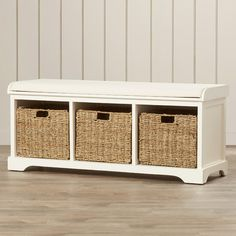 """Features:  -Material: Pine / MDF with wood veneer.  Bench Type: -Entryway bench.  Seat Material: -Manufactured wood/Wood.  Pattern: -Solid.  Style: -Coastal/Traditional. Dimensions:  -Basket: 12"""" H x"""
