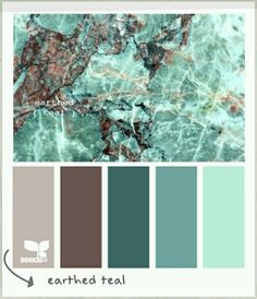 Earthed Teal colour palette by Design Seeds Colour Schemes, Color Combos, Colour Palettes, Turquoise Color Palettes, Decorating Color Schemes, Pantone, Color Palate, Design Seeds, Colour Board